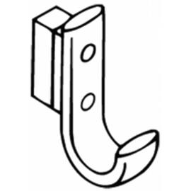 HEWI 477 Garderobenhaken, mit Distanzstück Ausladung 63 mm, reinweiss