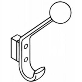 HEWI 477 Garderobenhaken, mit Distanzstück Ausladung 132 mm, mit Kugel, reinweiss
