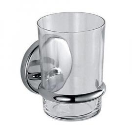 INDA COLORELLA Glashalter mit Klarglasbecher 9x8x11cm, verchromt