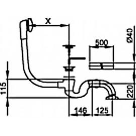 BETTE Ab-u.Überlaufgarnitur für Badewannen CLOU 1580, COMBO 2140, weiss