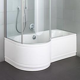 BETTECORA RONDA COMFORT Badewanne mit Duschbereich links 1600 x 900/700 mm, weiss