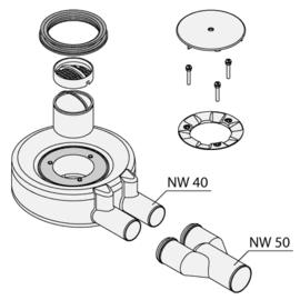 BETTEFLOOR Ablaufgarnitur B574 seitlich 0,85 l/s 2xDN40 auf DN50, Einbauhöhe 60mm, chrom 901