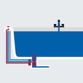 BETTE Ab-u.Überlaufgarnitur Geberit Clou für Badewanne STARLET 1600 mm mit Mittelablauf, chrom