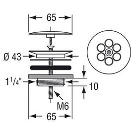 CONTI+ Pollux PO10,16 Universal-Ablaufventil 1 1/4 mit permanent geöffneter Abdeckhaube, verchromt