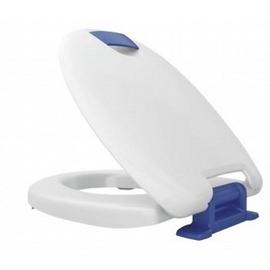 HARO HAROMED SoftClose WC-Sitz mit Deckel, Excenter-Scharnier C3202W aus Edelstahl, weiss/blau