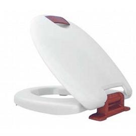 HARO HAROMED SoftClose WC-Sitz mit Deckel, Excenter-Scharnier C3202W aus Edelstahl, weiss/rot