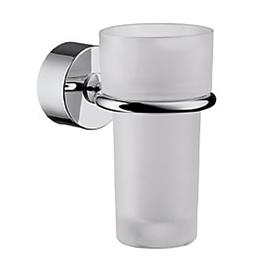 Axor Uno2 Zahnputzbecher aus Kristallglas mit Wandhalter, chrom