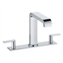 KEUCO EDITION 300 Dreiloch-Waschtischarmatur mit Ablaufgarnitur, mit Platte 200 mm, chrom