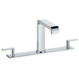 KEUCO EDITION 300 Dreiloch-Waschtischarmatur mit Ablaufgarnitur, mit Platte 300 mm, chrom