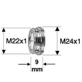 NEOPERL Reduktion AG M24x1 auf AG M22x1 Aussengewinde, Messing vernickelt