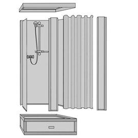 ROTH EXKLUSIV Dusche, Oberteil Typ 150, 1735 x 845 x 845 mm, Vorhang, weiss,  ohne Unterteil