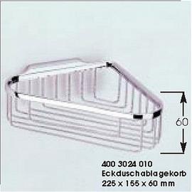 sam Eck-Duschablagekorb mit verdeckter Befestigung, extra tief, 225x155x60 mm, chrom
